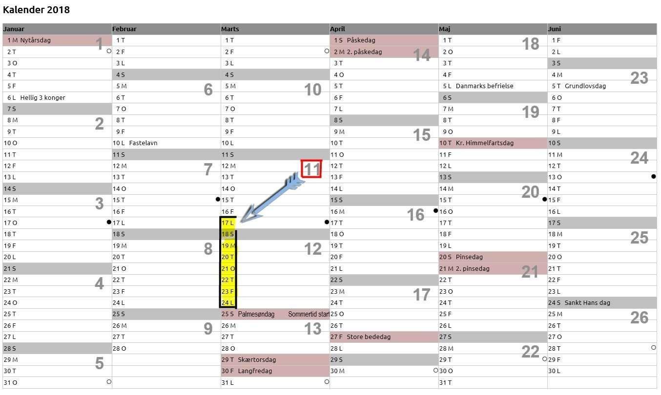 kalender med ugenumre